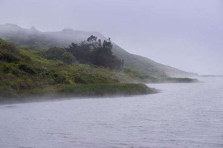 The shoreline of Rodeo Lagoon covered in fog, Marin Headlands State Park, San Francisco bay area, California Imagens