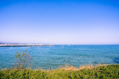 Santa Cruz bay on a calm day, California Stock fotó