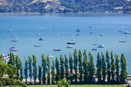 Aerial view of the bay from the hills of Sausalito, San Francisco bay area, California