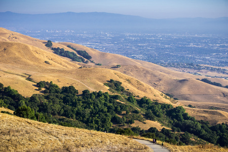 Trail through the golden hills of Mission Peak preserve; downtown San Jose in the background, south San Francisco bay, California