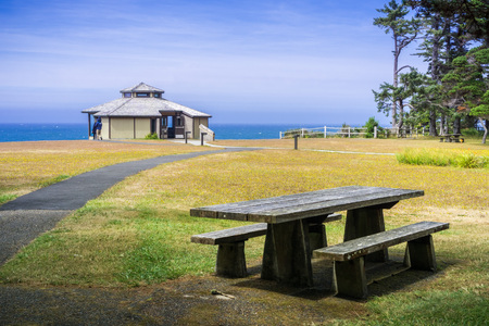 Pavilion on the shoreline of the Pacific Ocean on a sunny summer day, Shores Acres State Park, Coos Bay, Oregon