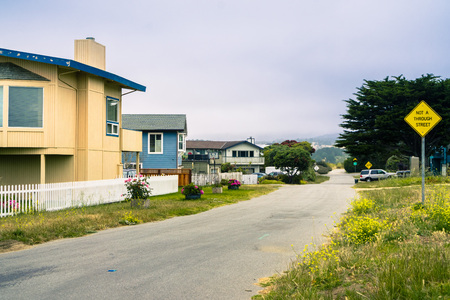 Houses in Moss Beach, San Francisco bay area, California 免版税图像