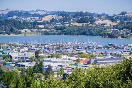 Aerial view of the bay and marina from the hills of Sausalito, San Francisco bay area, California