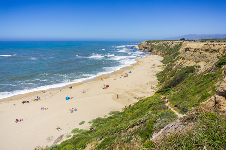 Popular beach on the Pacific Ocean coast near Half Moon Bay, San Francisco bay area, California