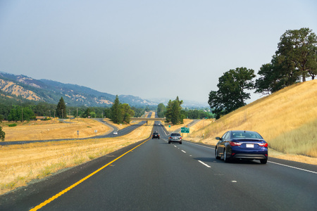 Smoky skies while driving on highway 101, California