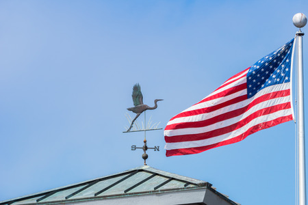 Bird shaped weather vane; the american national flag in the background, San Francisco bay area, California