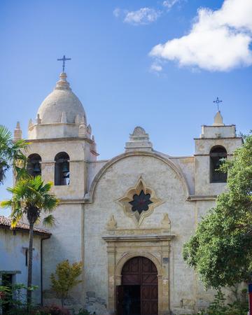 The facade of the chapel at Mission San Carlos Borromeo de Carmelo (Carmel Mission) on Junipero Serra street, Carmel-by-the-Sea, Monterey Peninsula, California