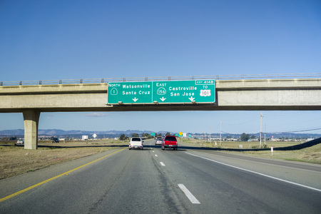 Driving from Monterey to San Jose and Silicon Valley, south San Francisco bay, California Stock Photo