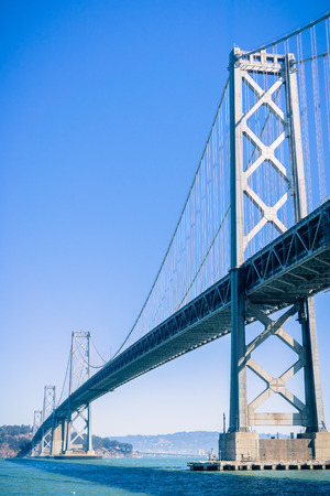 The Bay Bridge connecting San Francisco to Treasure Island and then Oakland, California