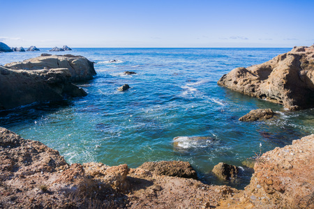 Protected cove at Point Lobos State Natural Reserve, Carmel-by-the-Sea, Monterey Peninsula, California Banco de Imagens