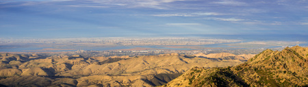 Panoramic view towards San Joaquin river, Pittsburg and Antioch from the summit of Mt Diablo; North Peak in the foreground, Mt Diablo SP, Contra Costa county, San Francisco bay area, California