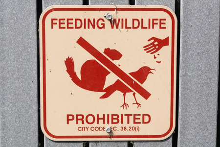 Feeding Wildlife Prohibited posted sign in Shoreline Lake and Park, Mountain View, California