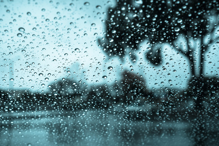 Dark and rainy day; raindrops on the windshield; tree shapes visible in the background