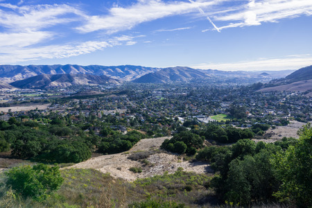 Aerial view of San Luis Obispo from the hiking trail to Bishop Peak, California