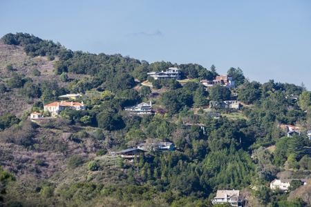 View towards the houses built in Los Altos hills, south San Francisco bay, California
