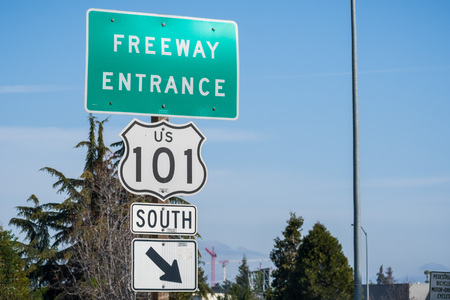 Freeway entrance sign on a blue sky background, San Francisco bay, California Reklamní fotografie