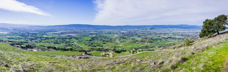 Panoramic view of the towns of South Valley (Gilroy, San Martin, Morgan Hill) as seen from Coyote Lake Harvey Bear Ranch County Park, south San Francisco bay, California