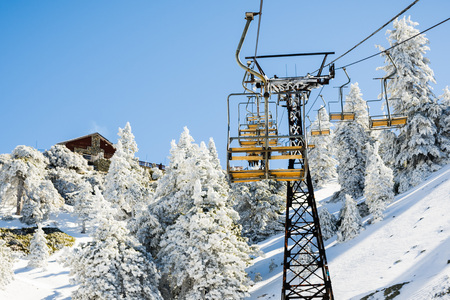Mount Baldy (Mt San Antonio) ski lift on a sunny day; snow covering the ground and the pine trees, Los Angeles county, California Banco de Imagens
