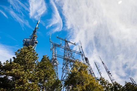 Telecommunication Radio antenna Towers on top of Mt Wilson; Los Angeles county, California Stock Photo
