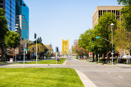 View of the Capitol Mall in downtown Sacramento, California; the Tower Bridge in the background Stock Photo