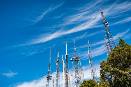 Telecommunication Radio antenna Towers on top of Mt Wilson, Los Angeles county, California Reklamní fotografie - 115392184