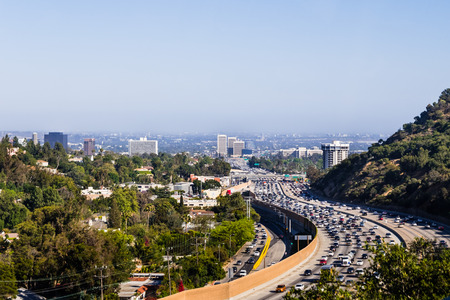 View toward West Los Angeles on a hazy day; heavy traffic on highway 405; California