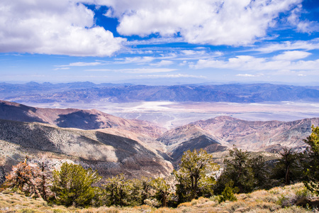 View towards Badwater Basin from the trail to Telescope Peak, Death Valley National Park, California Stock Photo