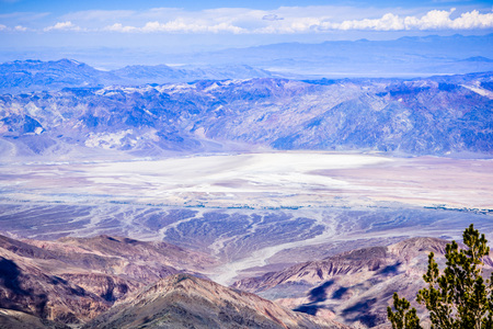 Amazing aerial view of the Badwater Basin (282 feet below sea level, the lowest point in North America) as seen from Telescope Peak, elevation 11,049 feet; Death Valley National Park, California Stock Photo