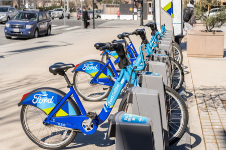 February 21, 2018 San Jose  CA  USA - Ford GoBike is a regional public bicycle sharing system in the San Francisco Bay Area, California Redakční
