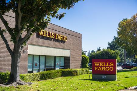 October 26, 2017 Sunnyvale/California - Wells Fargo branch in Sunnyvale