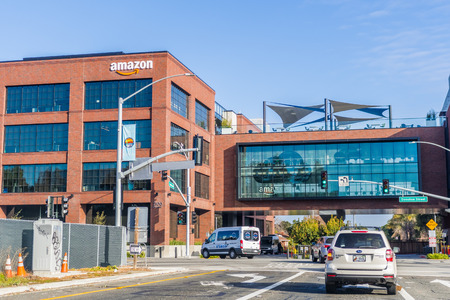 February 20, 2018 East Palo Alto / CA / USA - Amazon office building situated in Silicon Valley, San Francisco bay area