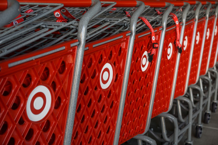 October 12, 2017 Sunnyvale/CA/USA - Stacked Target shopping carts with the company's logo on the side, a bulls eye Reklamní fotografie - 116398360