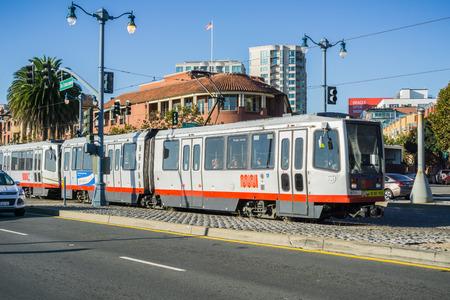 October 7, 2017 San Francisco/CA/USA - Tramway passing on the Embarcadero road