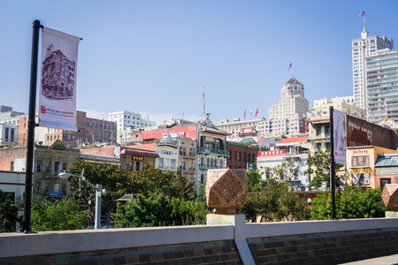 September 5, 2017 San FranciscoUSA - View towards Chinatown from the Visual Art Center Editorial