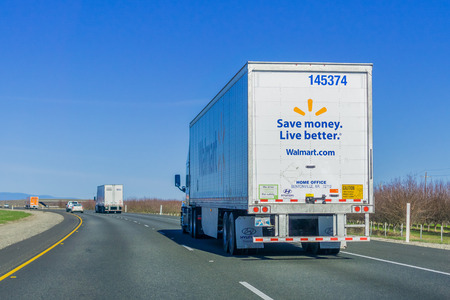 January 28, 2018 Sacramento  CA  USA - Walmart truck driving on the interstate on a sunny day
