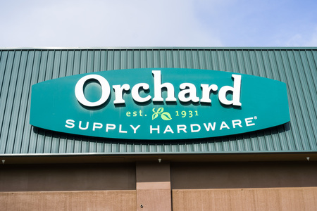 January 17, 2018 Sunnyvale / CA / USA - Orchards Supply Hardware logo above the store entrance