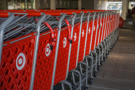 October 12, 2017 SunnyvaleCAUSA - Stacked Target shopping carts with the companys logo on the side, a bulls eye Redakční