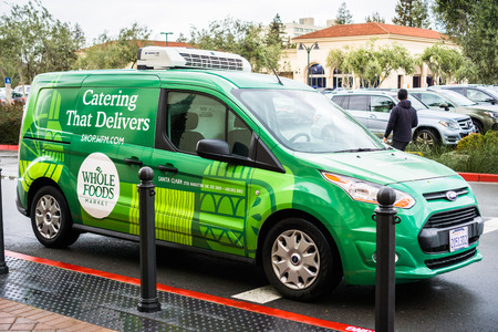 March 1, 2018 Santa Clara  CA  USA - Whole Foods Market delivery van servicing the Silicon Valley area, south San Francisco bay area
