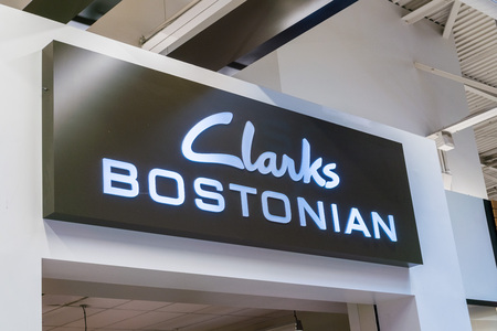 August 4, 2017 MilpitasCAUSA - Clarks logo above the storefront located at the Great Mall, San Francisco bay area