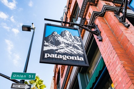 March 15, 2018 Pasadena / CA / USA - Patagonia sign in front of the store located in downtown Pasadena
