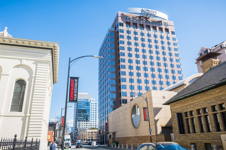 February 21, 2018 San Jose  CA  USA - Street in downtown San Jose on a sunny day, Silicon Valley