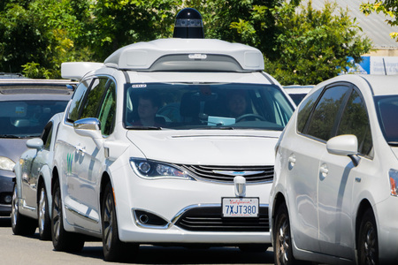 August 6, 2017 Mountain ViewCaUSA - Waymo self driving car cruising on a street, Silicon Valley
