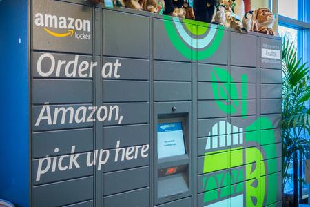 December 13, 2017 Los Altos  CA  USA - Amazon locker located inside Whole Foods in San Francisco bay area