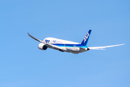 January 31, 2018 San Jose  CA  USA - ANA aircraft taking off from San Jose International Airport, Silicon Valley; All Nippon Airways Co., Ltd., also known as Zennikk? is the biggest Japanese airline