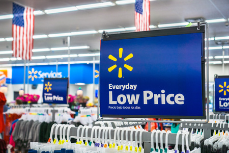 May 11, 2018 Mountain View  CA USA -  Walmarts Everyday low price tagline posted inside one of their stores Editorial
