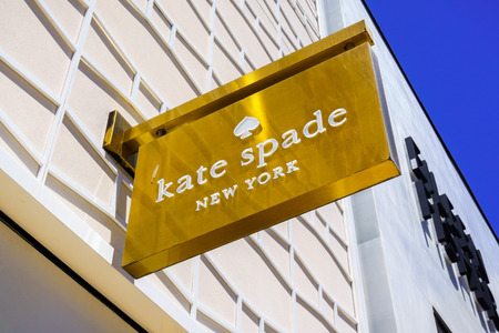 August 2, 2018 Palo Alto / CA / USA - Close up of Kate Spade logo displayed above the entrance of the store located in the upscale open air Stanford Shopping Mall, Silicon Valley, California