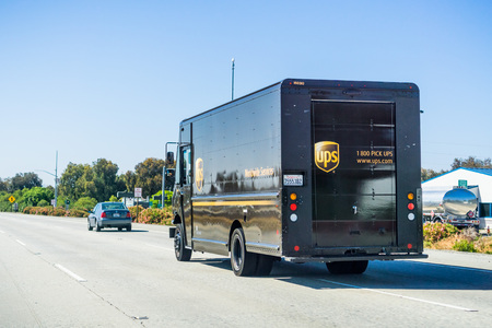 June 8, 2018 Morgan Hill  CA  USA - UPS delivery truck driving on the highway in south San Francisco bay Redakční