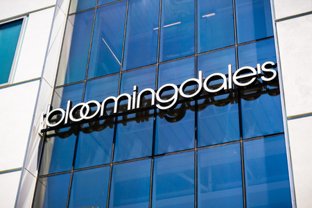August 2, 2018 Palo Alto / CA / USA - Close up of Bloomingdale's department store logo displayed at the store located in the upscale open air Stanford Shopping Mall, Silicon Valley, California Editorial