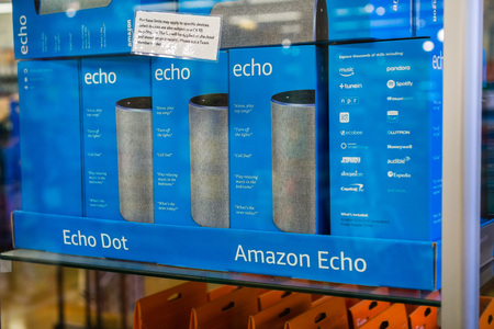August 2, 2018 Los Altos / CA / USA - Amazon Echo boxes inside a glass display located in one of the Whole Foods stores in San Francisco bay area