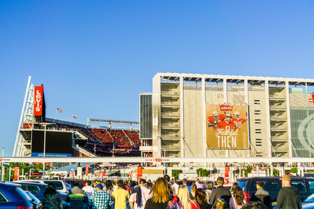 May 11, 2018 Santa Clara  CA  USA - People heading towards the entrance to Levis Stadium for a Taylor Swift concert, San Francisco bay; the stadium is the home of the San Francisco 49ers of the NHL